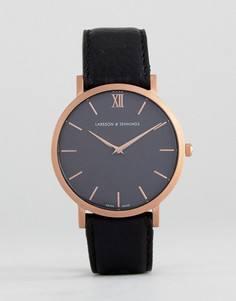 Часы цвета розового золота с черным кожаным ремешком Larsson & Jennings LGN40 Lugano & Norse Sloane - Черный