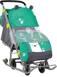 Санки-коляска с колесами Nika «Детям 7» зеленые