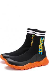 Высокие текстильные кроссовки без шнуровки Fendi