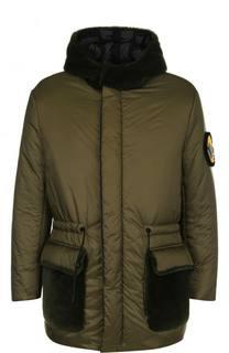 Утепленная куртка на молнии с меховой отделкой капюшона Fendi