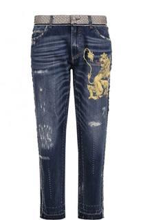 Джинсы прямого кроя с принтом и контрастной прострочкой Dolce & Gabbana