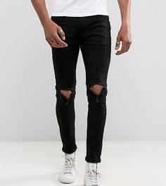 Черные облегающие джинсы с рваной отделкой Liquor N Poker - Черный