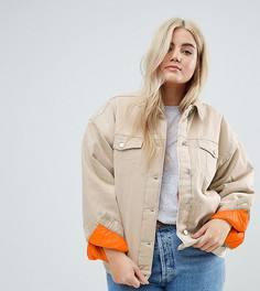 Песочная дутая джинсовая куртка ASOS CURVE - Светло-бежевый