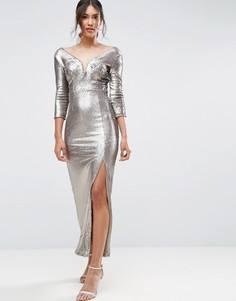 Платье макси с пайетками Little Mistress - Золотой