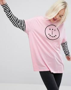 Оверсайз-футболка с длинными рукавами и отделкой Lazy Oaf - Розовый
