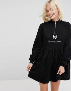 Трикотажное платье с молнией и надписью Nobody Cares Lazy Oaf - Черный