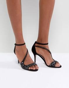 Босоножки на каблуке с ремешками и стразами Carvela - Черный