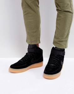 Высокие замшевые кроссовки черного цвета Nike Air Force 1 07 LV8 AA1118-001 - Черный