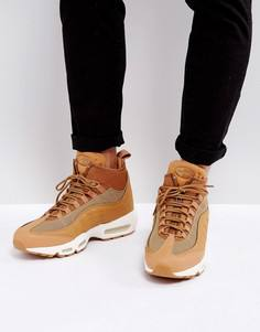 Бежевые кроссовки Nike Air Max 95 Sneakerboots Flax 806809-201 - Бежевый
