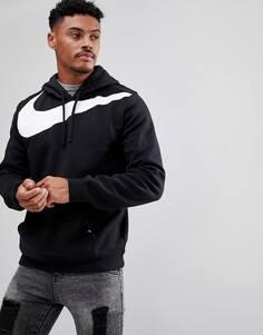 Черный худи с большим логотипом-галочкой Nike 861714-010 - Черный