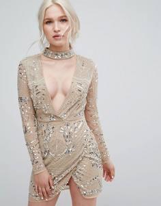 Платье с лентой вокруг шеи и серебристой отделкой Missguided Peace + Love - Серебряный