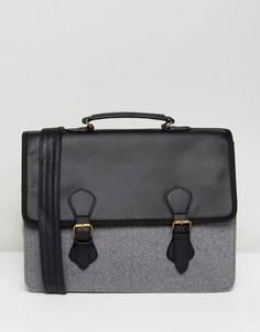 Серая шерстяная сумка-сэтчел с черной вставкой из искусственной кожи ASOS -  Черный f14fb4470a7