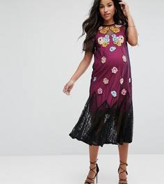 Сетчатое платье с вышивкой ASOS Maternity - Черный