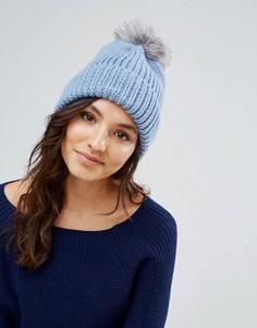 Голубая шапка с меховым помпоном Alice Hannah - Синий