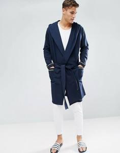 Халат с капюшоном ASOS - Темно-синий