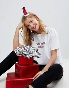 Заколка для волос в виде шапки Деда Мороза с отделкой блестками ASOS Christmas - Красный
