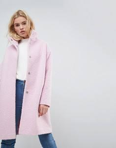 Oversize-пальто с добавлением шерсти и воротом-трубой ASOS - Фиолетовый