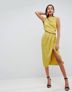 Платье миди с драпировкой ASOS Selenia - Желтый