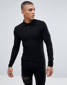 Черное обтягивающее трикотажное поло с длинными рукавами ASOS - Черный