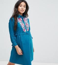 Платье-рубашка миди с вышивкой ASOS Maternity - Зеленый