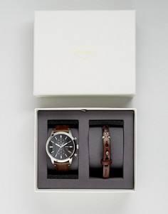 Часы с кожаным ремешком и браслет в подарочном наборе Fossil FS5394 Rutherford - Коричневый