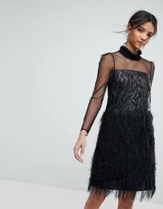 Жаккардовое платье с эффектом металлик и бахромой Tresophie - Черный