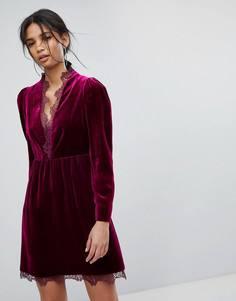 Бархатное платье с кружевом Tresophie - Фиолетовый