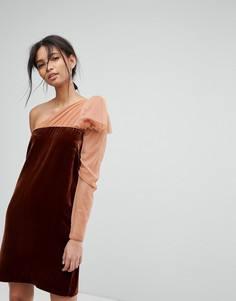 Бархатное платье на одно плечо Tresophie - Оранжевый