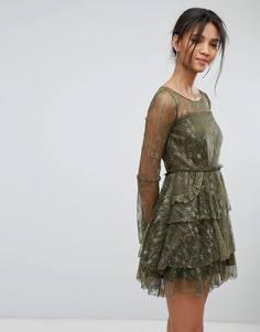 Кружевное ярусное платье Tresophie - Зеленый