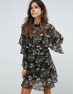 Ярусное платье с цветочным принтом Liquorish - Черный