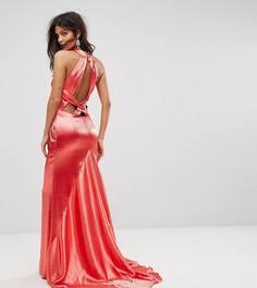 Платье макси с американской проймой, юбкой-годе и открытой спиной Jarlo - Красный