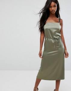 Атласное платье миди на бретелях Oh My Love - Зеленый