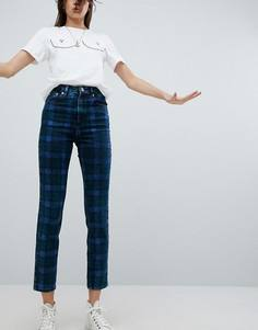Облегающие джинсы в винтажном стиле в клетку с завышенной талией ASOS FARLEIGH - Мульти