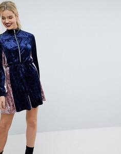 Бархатное платье в стиле колор блок ASOS - Мульти