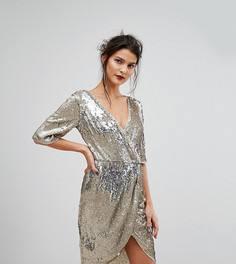 Платье миди с запахом и пайетками TFNC - Золотой