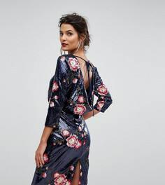 Платье миди с пайетками и цветочной вышивкой TFNC - Темно-синий