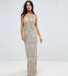 Платье-бандо макси с пайетками TFNC Petite - Золотой