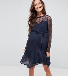 Короткое приталенное платье с кружевом Mamalicious - Темно-синий Mama.Licious