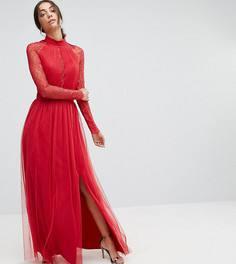 Платье макси с плиссировкой и кружевными рукавами Little Mistress Tall - Красный