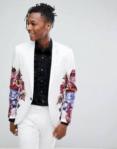 Приталенный пиджак из хлопкового сатина с принтом Noose & Monkey - Белый