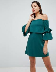 Платье мини с рукавами клеш и кроп-топом ASOS - Зеленый