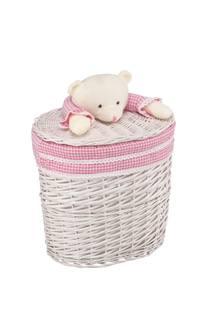 Корзина Natural House «Медвежонок розовый» ива M