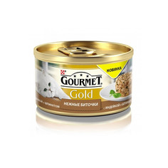 Корм Gourmet Gold Нежные Биточки Индейка Шпинат 85g для кошек 61280