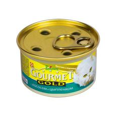 Корм Gourmet Gold Лосось Цыплёнок кусочки в подливке 85g для кошек 19245
