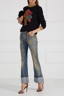 Кожаные босоножки с кристаллами Gucci