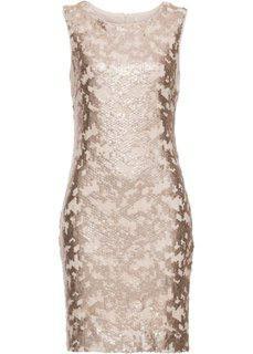 Платье с пайетками (золотистый) Bonprix