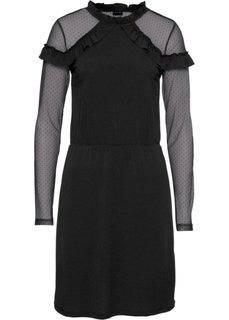 Платье с кружевом и воланами (черный) Bonprix
