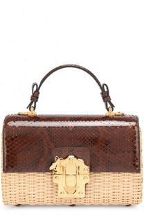 Плетеная сумка Lucia с отделкой из кожи питона Dolce & Gabbana