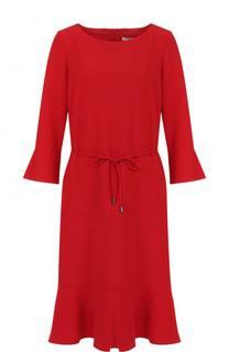 Платье-миди с укороченным рукавом и поясом BOSS