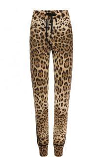 Кашемировые джоггеры с леопардовым принтом Dolce & Gabbana